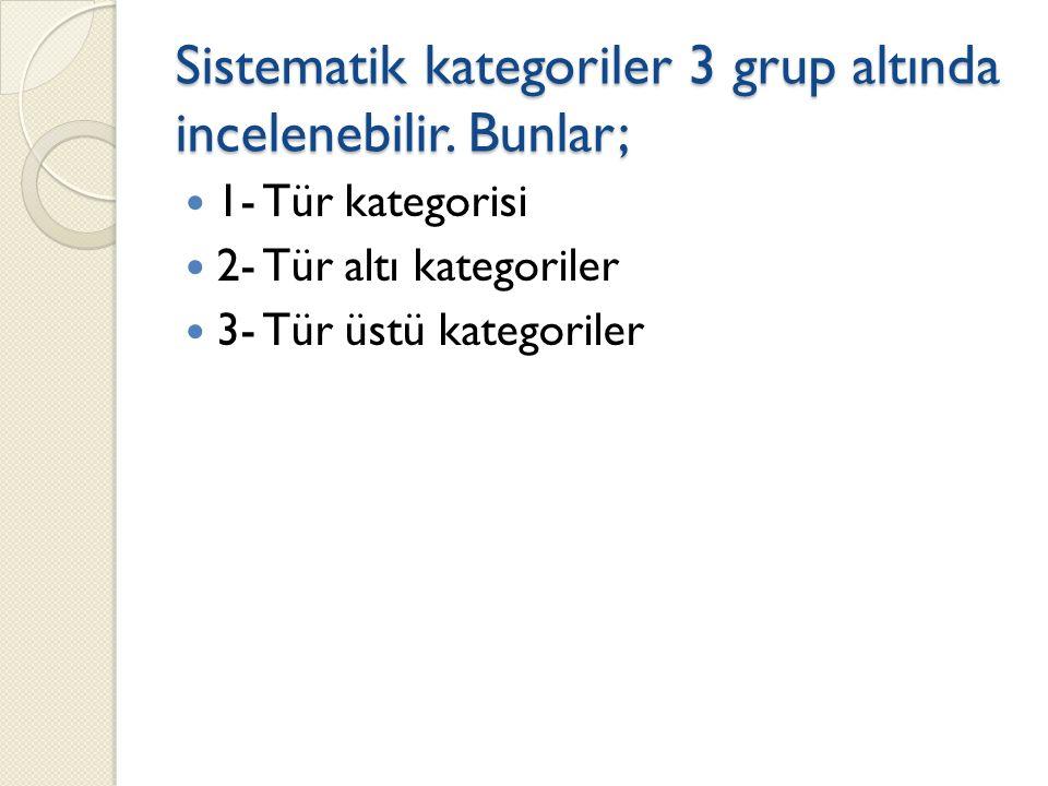 Sistematik kategoriler 3 grup altında incelenebilir. Bunlar;