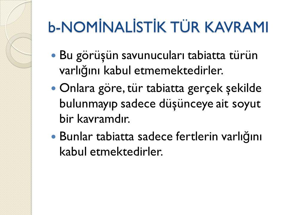 b-NOMİNALİSTİK TÜR KAVRAMI