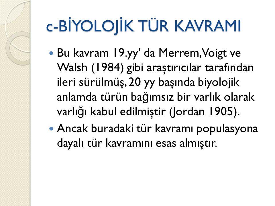 c-BİYOLOJİK TÜR KAVRAMI