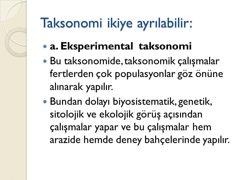 Taksonomi ikiye ayrılabilir: