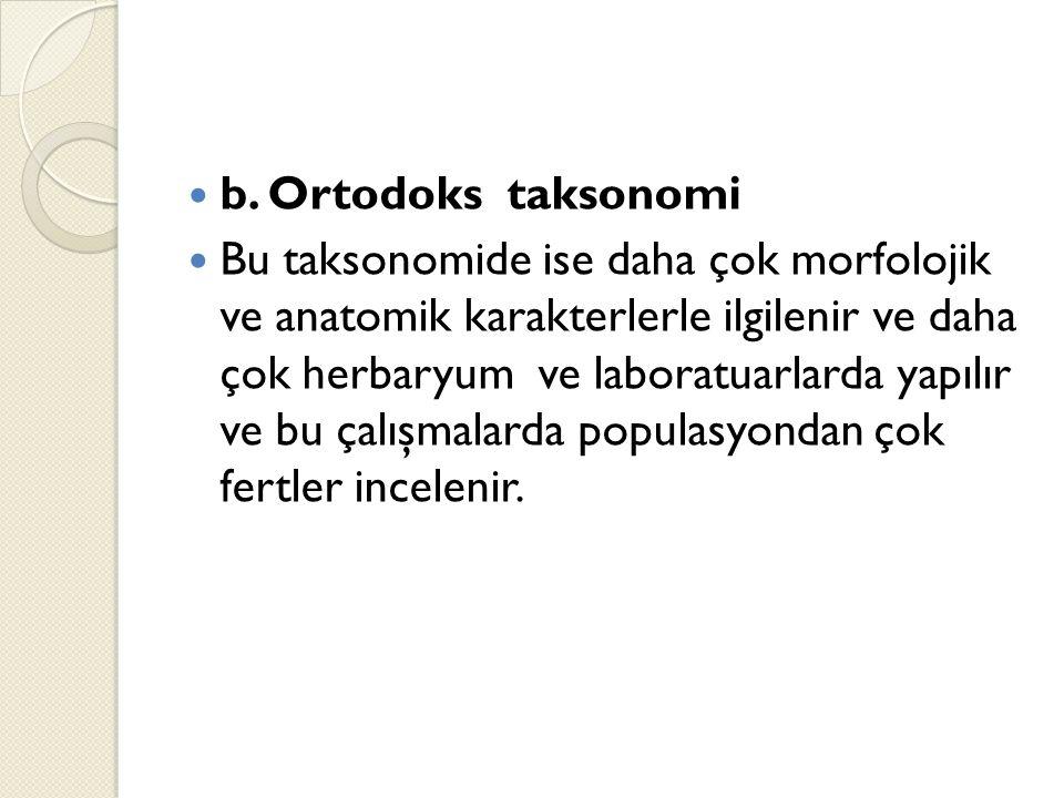 b. Ortodoks taksonomi