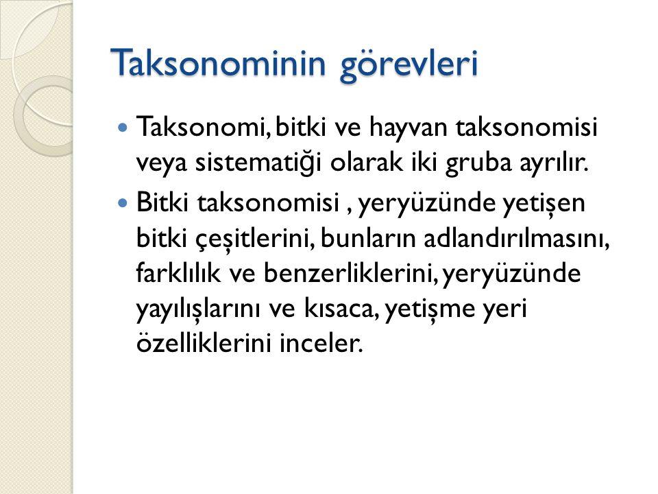 Taksonominin görevleri