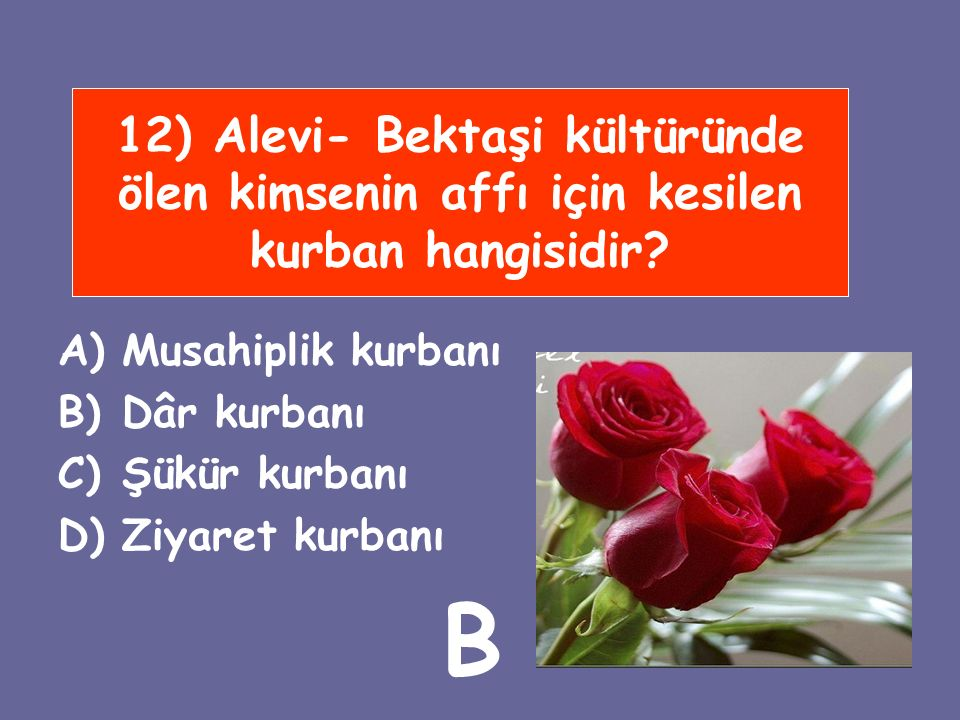 12) Alevi- Bektaşi kültüründe ölen kimsenin affı için kesilen kurban hangisidir