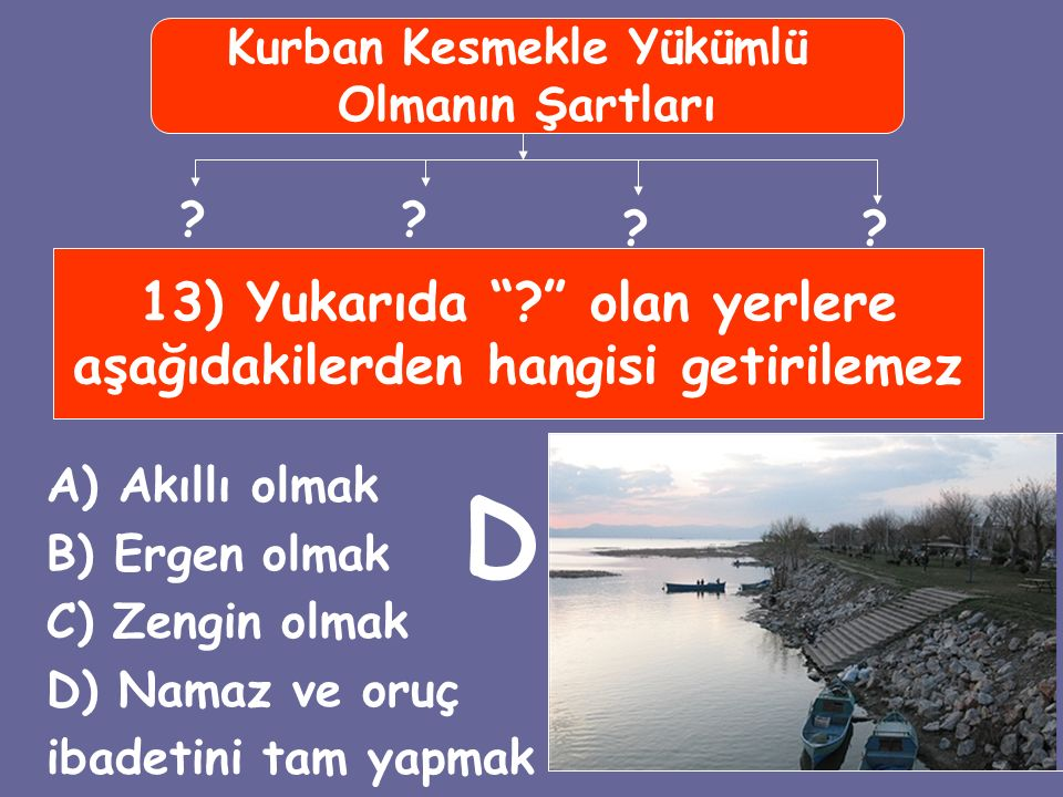 13) Yukarıda olan yerlere aşağıdakilerden hangisi getirilemez