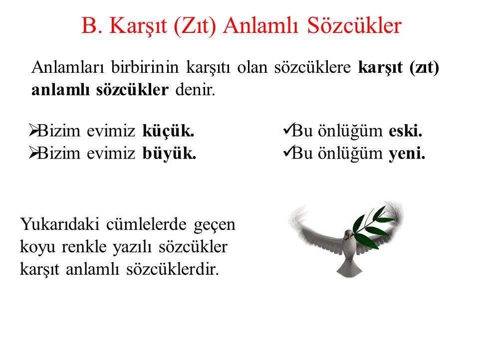 B. Karşıt (Zıt) Anlamlı Sözcükler