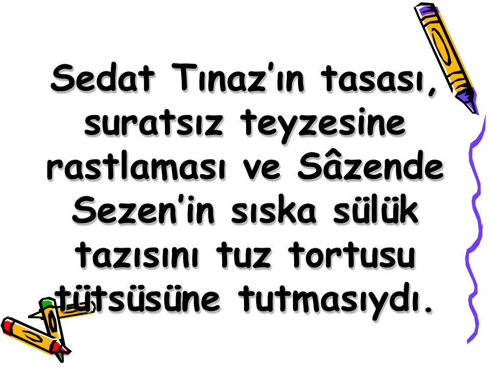 Sedat Tınaz'ın tasası, suratsız teyzesine rastlaması ve Sâzende Sezen'in sıska sülük tazısını tuz tortusu tütsüsüne tutmasıydı.