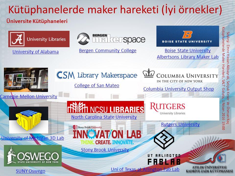 Kütüphanelerde maker hareketi (İyi örnekler)
