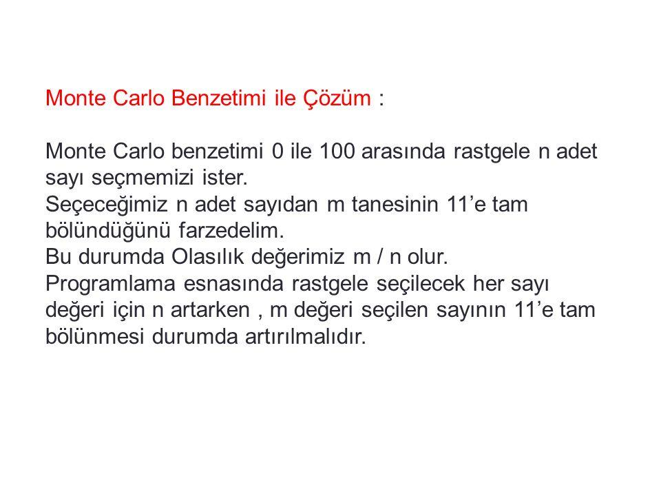 Monte Carlo Benzetimi ile Çözüm :