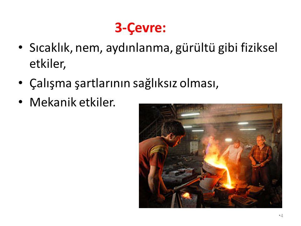 3-Çevre: Sıcaklık, nem, aydınlanma, gürültü gibi fiziksel etkiler,