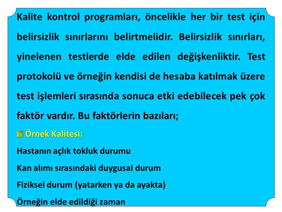 Kalite kontrol programları, öncelikle her bir test için belirsizlik sınırlarını belirtmelidir. Belirsizlik sınırları, yinelenen testlerde elde edilen değişkenliktir. Test protokolü ve örneğin kendisi de hesaba katılmak üzere test işlemleri sırasında sonuca etki edebilecek pek çok faktör vardır. Bu faktörlerin bazıları;