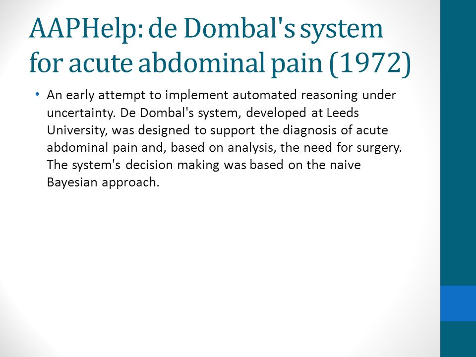 AAPHelp: de Dombal s system for acute abdominal pain (1972)