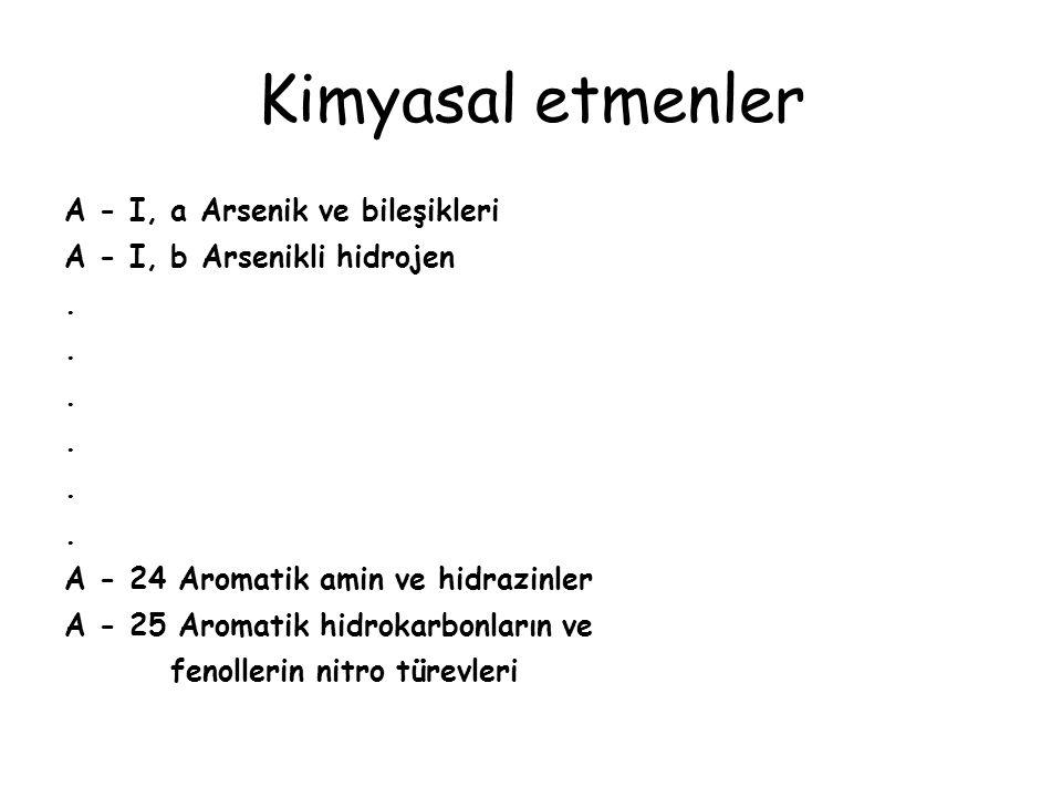 Kimyasal etmenler A - I, a Arsenik ve bileşikleri