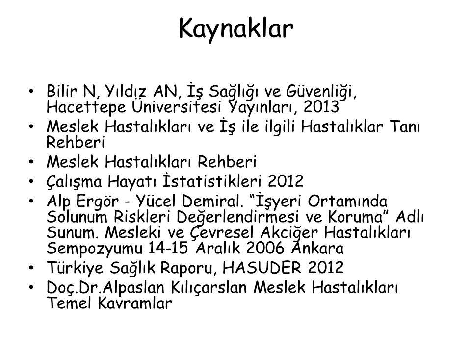 Kaynaklar Bilir N, Yıldız AN, İş Sağlığı ve Güvenliği, Hacettepe Üniversitesi Yayınları, 2013.