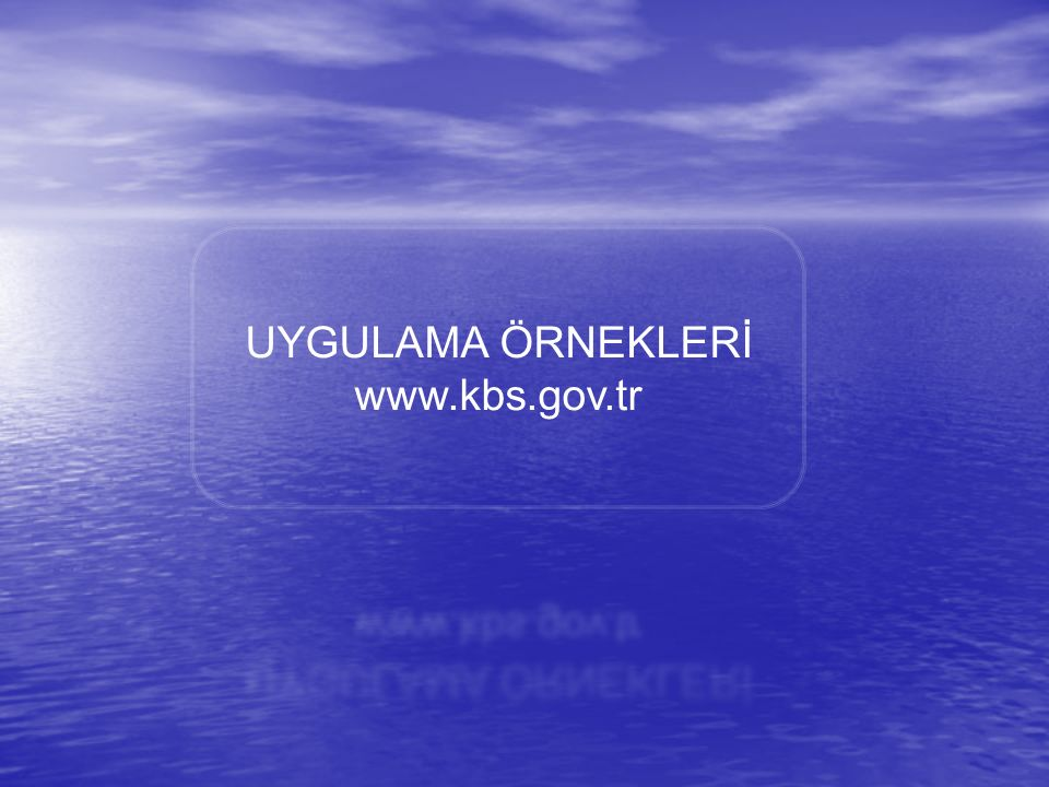 UYGULAMA ÖRNEKLERİ www.kbs.gov.tr