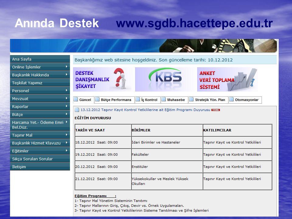 Anında Destek www.sgdb.hacettepe.edu.tr
