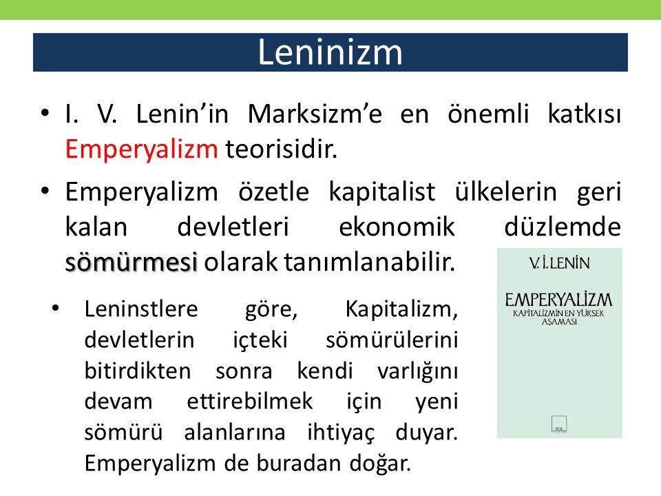Leninizm I. V. Lenin'in Marksizm'e en önemli katkısı Emperyalizm teorisidir.