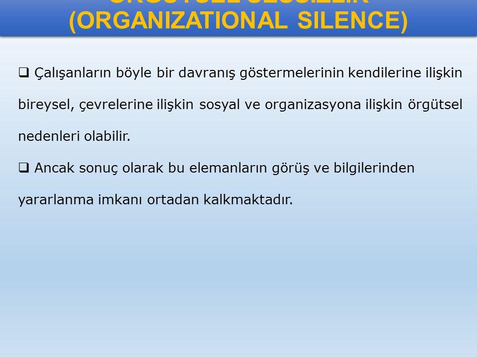 ÖRGÜTSEL SESSİZLİK (ORGANIZATIONAL SILENCE)
