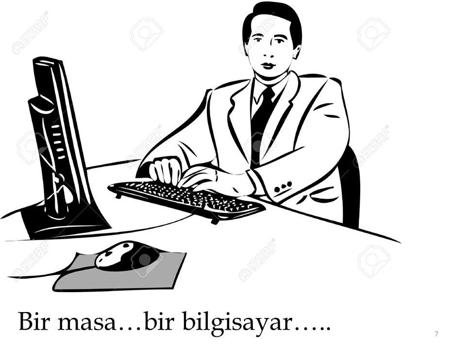 Bir masa…bir bilgisayar…..