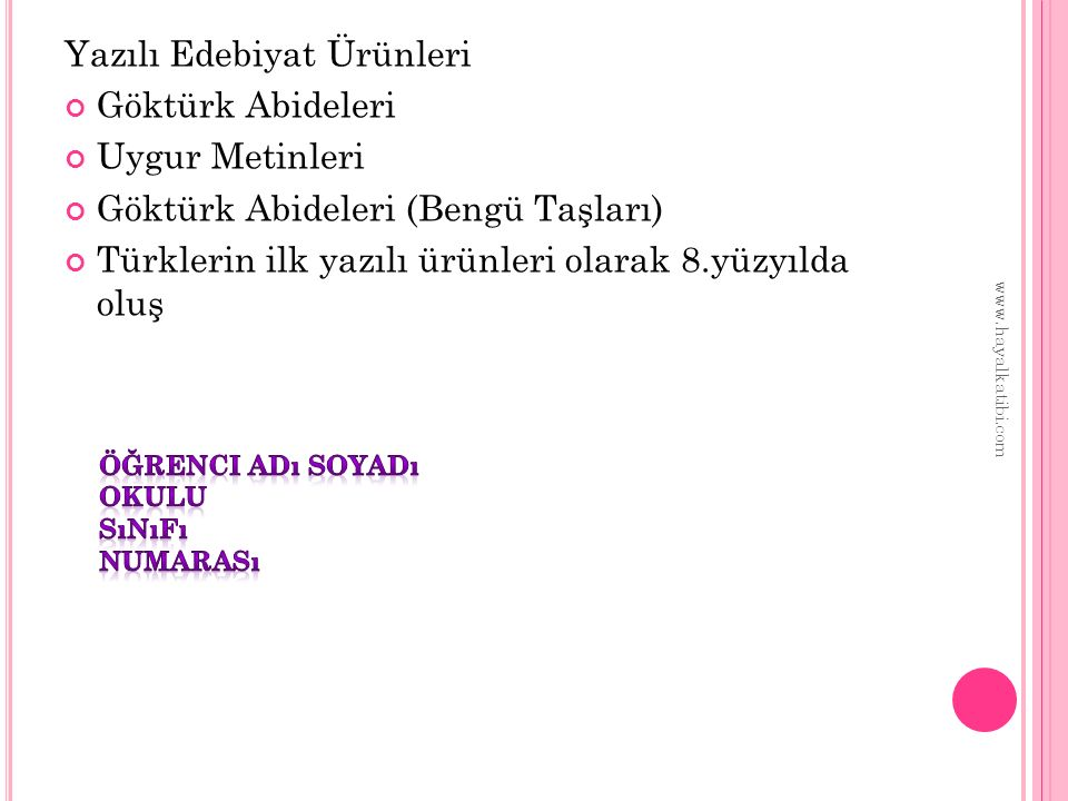 Yazılı Edebiyat Ürünleri Göktürk Abideleri Uygur Metinleri