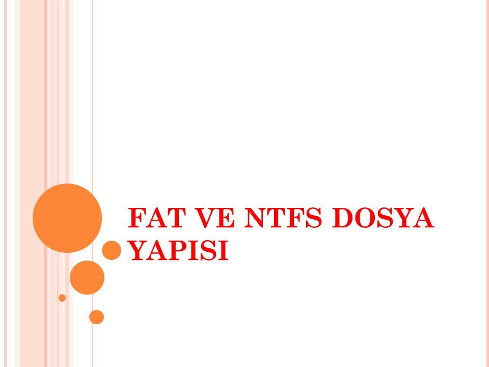 FAT VE NTFS DOSYA YAPISI