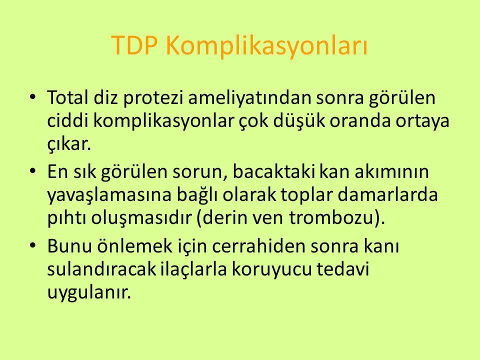 TDP Komplikasyonları Total diz protezi ameliyatından sonra görülen ciddi komplikasyonlar çok düşük oranda ortaya çıkar.