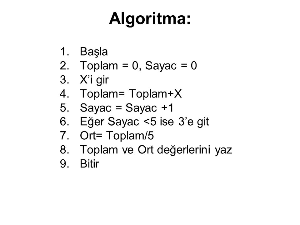 Algoritma: Başla Toplam = 0, Sayac = 0 X'i gir Toplam= Toplam+X