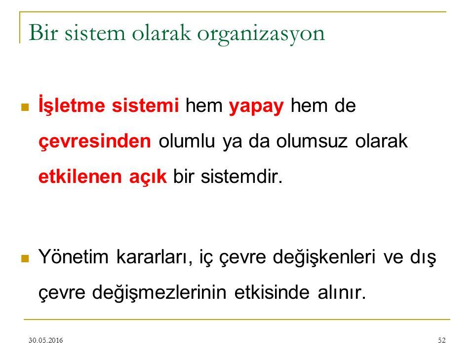 Bir sistem olarak organizasyon