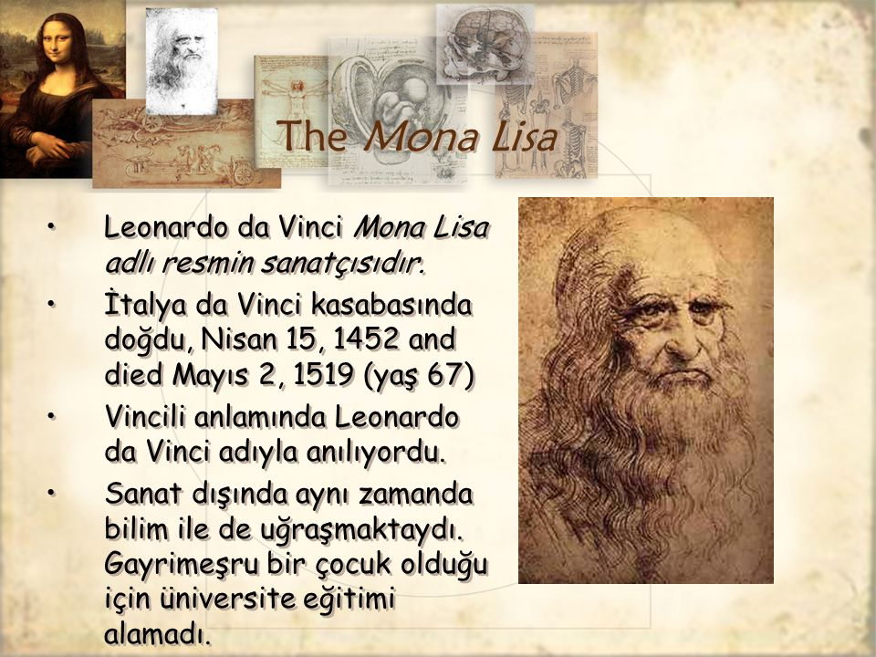 The Mona Lisa Leonardo da Vinci Mona Lisa adlı resmin sanatçısıdır.
