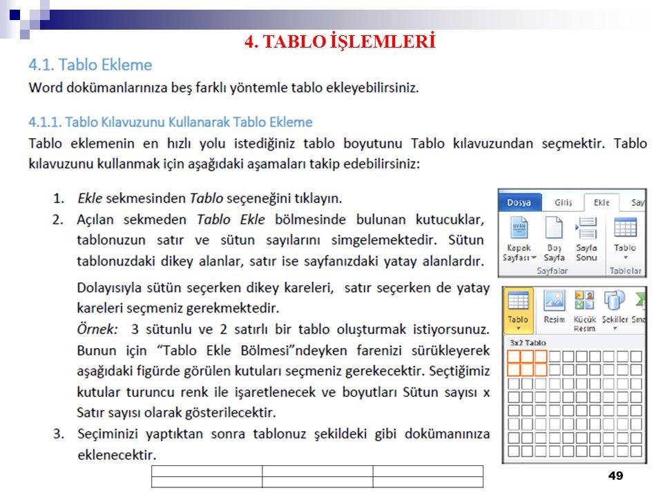 4. TABLO İŞLEMLERİ