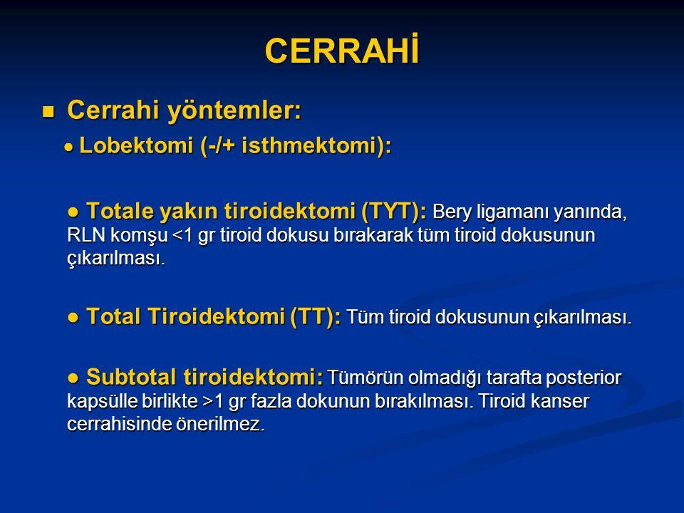 CERRAHİ Cerrahi yöntemler: