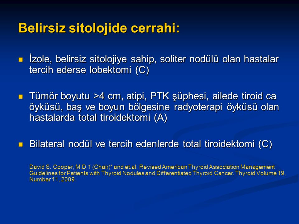 Belirsiz sitolojide cerrahi: