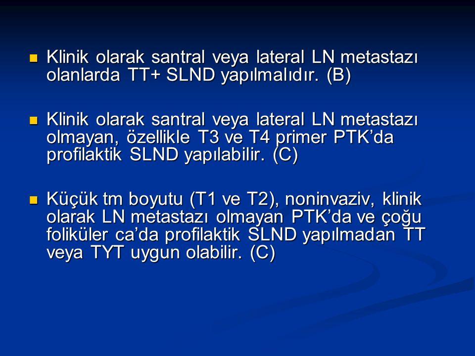 Klinik olarak santral veya lateral LN metastazı olanlarda TT+ SLND yapılmalıdır. (B)