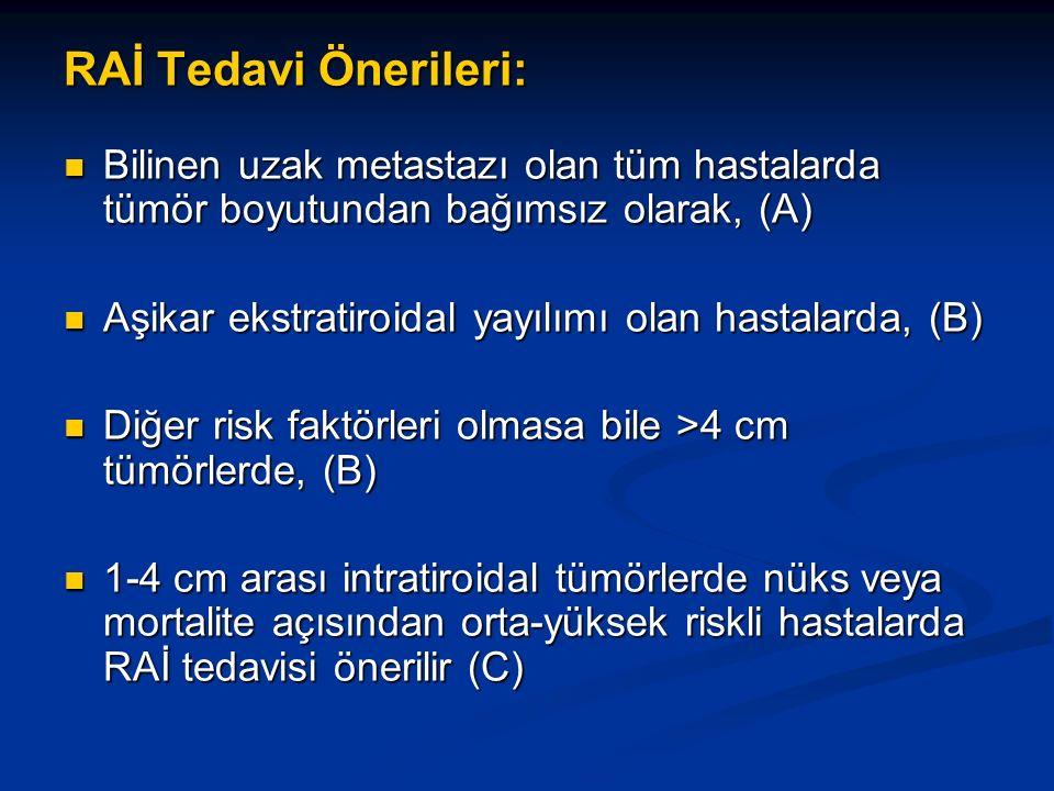 RAİ Tedavi Önerileri: Bilinen uzak metastazı olan tüm hastalarda tümör boyutundan bağımsız olarak, (A)