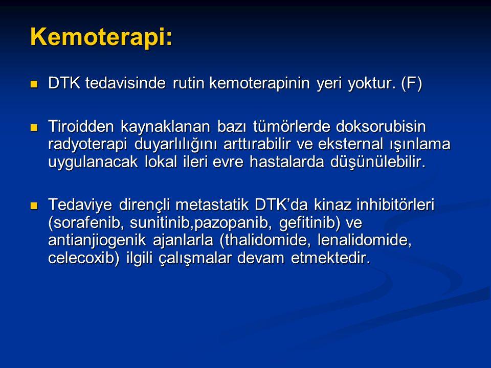 Kemoterapi: DTK tedavisinde rutin kemoterapinin yeri yoktur. (F)