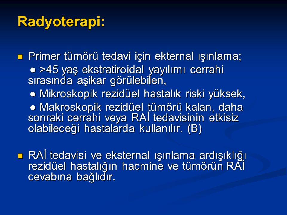 Radyoterapi: Primer tümörü tedavi için ekternal ışınlama;