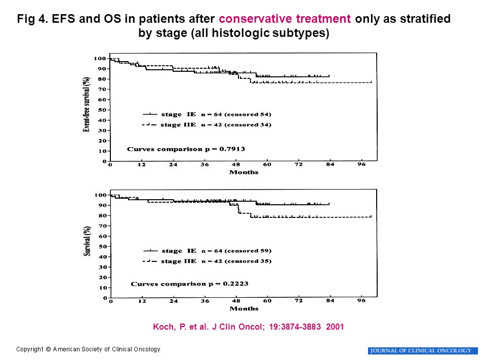 Fig 4. EFS and OS in patients after conservative treatment only as stratified by stage (all histologic subtypes)