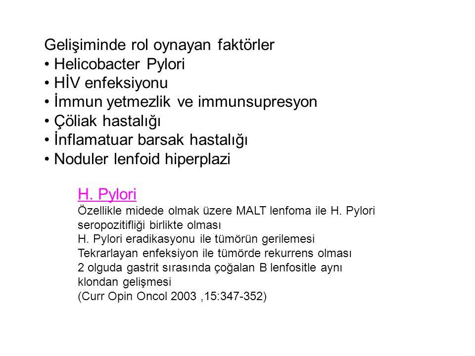 Gelişiminde rol oynayan faktörler Helicobacter Pylori HİV enfeksiyonu