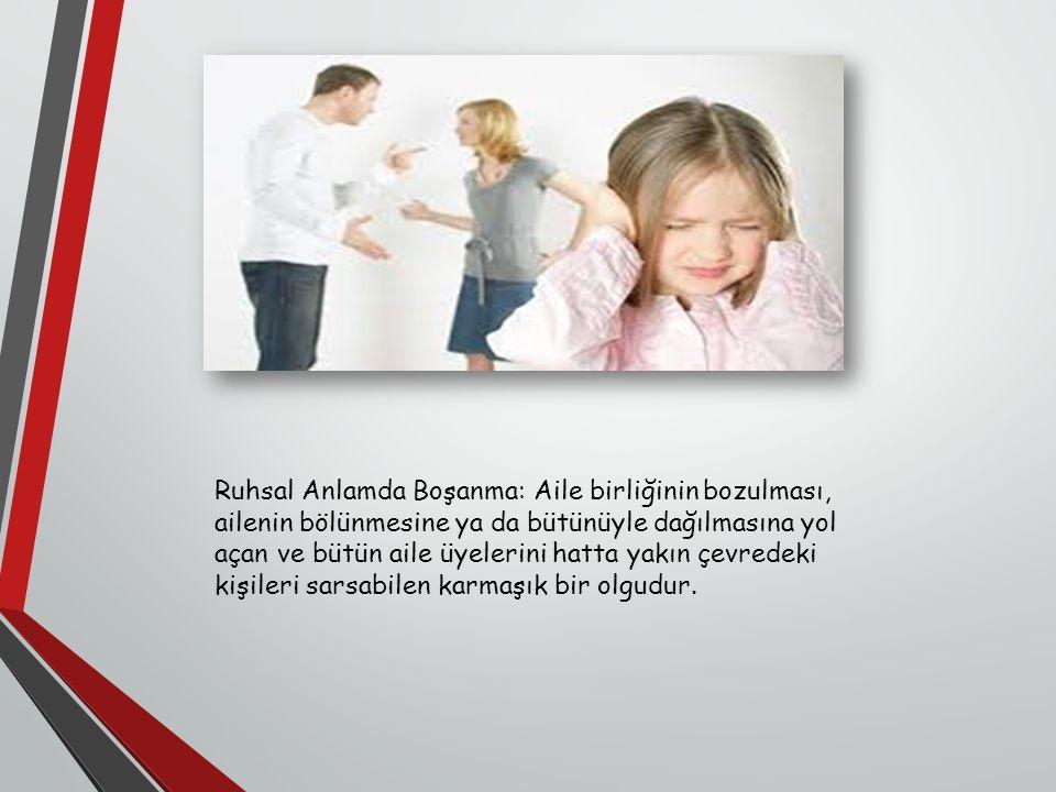 Ruhsal Anlamda Boşanma: Aile birliğinin bozulması, ailenin bölünmesine ya da bütünüyle dağılmasına yol açan ve bütün aile üyelerini hatta yakın çevredeki kişileri sarsabilen karmaşık bir olgudur.