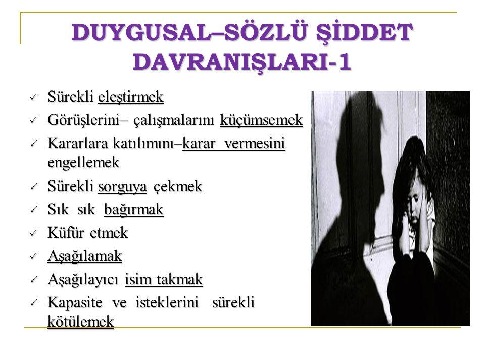 DUYGUSAL–SÖZLÜ ŞİDDET DAVRANIŞLARI-1
