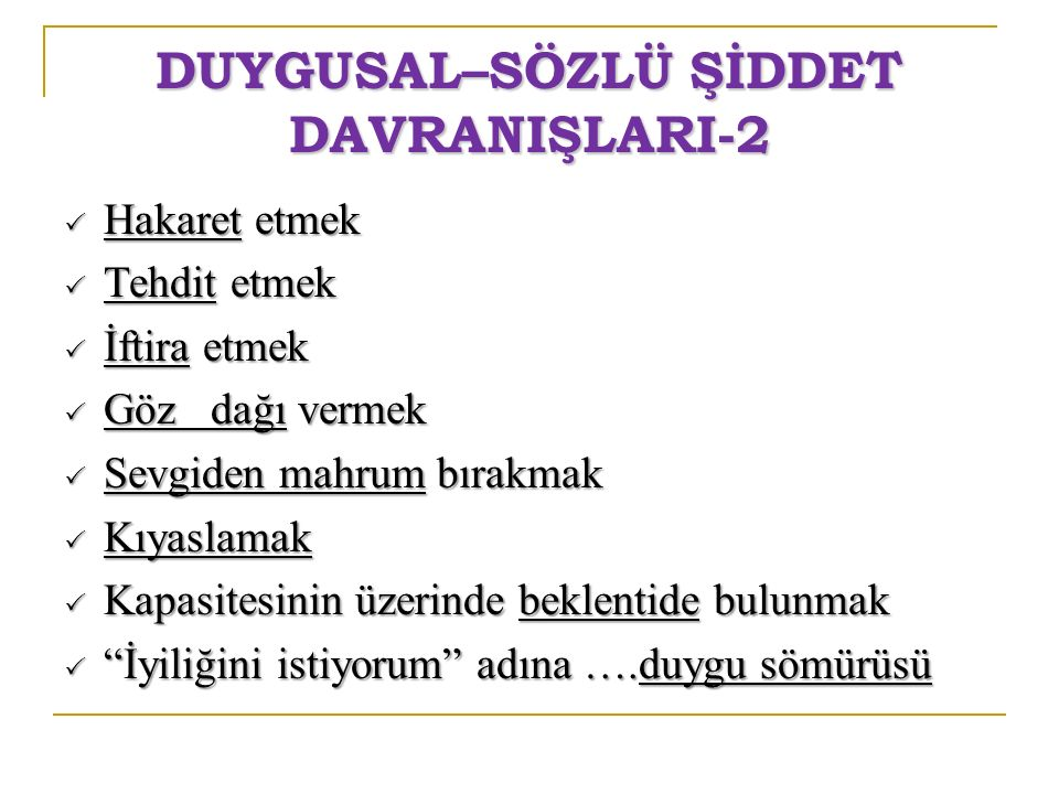 DUYGUSAL–SÖZLÜ ŞİDDET DAVRANIŞLARI-2