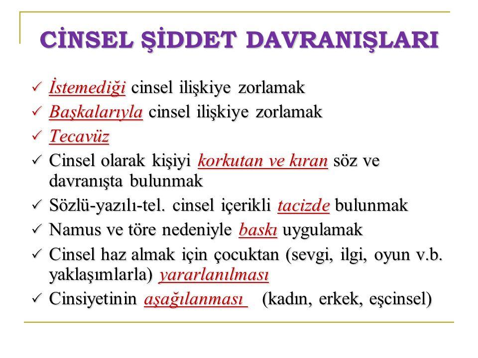 CİNSEL ŞİDDET DAVRANIŞLARI