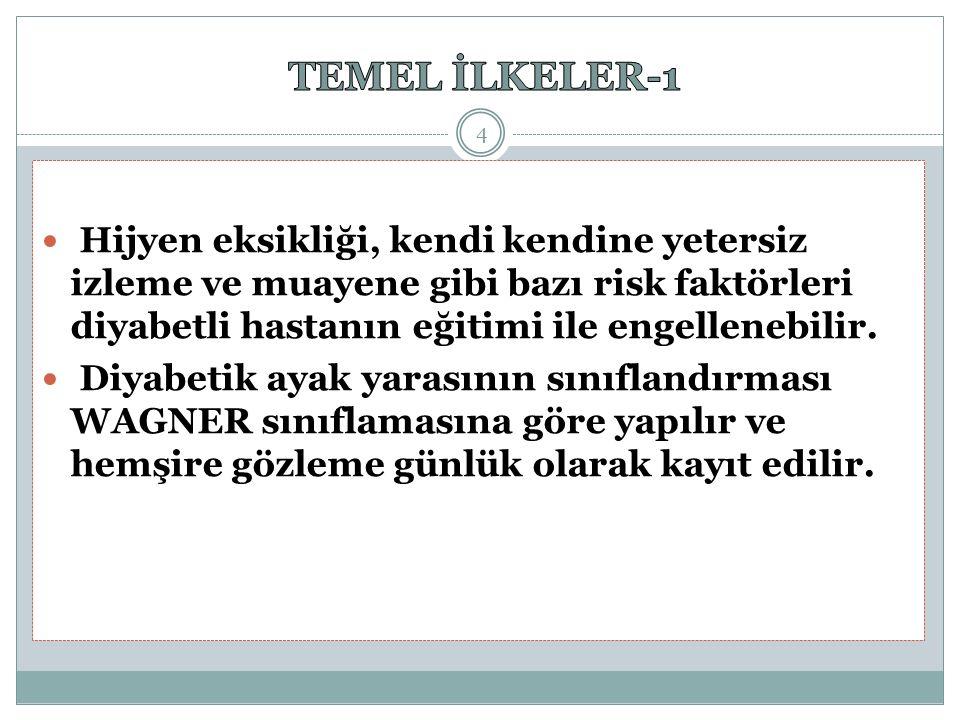 TEMEL İLKELER-1 Hijyen eksikliği, kendi kendine yetersiz izleme ve muayene gibi bazı risk faktörleri diyabetli hastanın eğitimi ile engellenebilir.