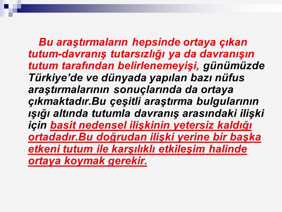 Bu araştırmaların hepsinde ortaya çıkan tutum-davranış tutarsızlığı ya da davranışın tutum tarafından belirlenemeyişi, günümüzde Türkiye'de ve dünyada yapılan bazı nüfus araştırmalarının sonuçlarında da ortaya çıkmaktadır.Bu çeşitli araştırma bulgularının ışığı altında tutumla davranış arasındaki ilişki için basit nedensel ilişkinin yetersiz kaldığı ortadadır.Bu doğrudan ilişki yerine bir başka etkeni tutum ile karşılıklı etkileşim halinde ortaya koymak gerekir.