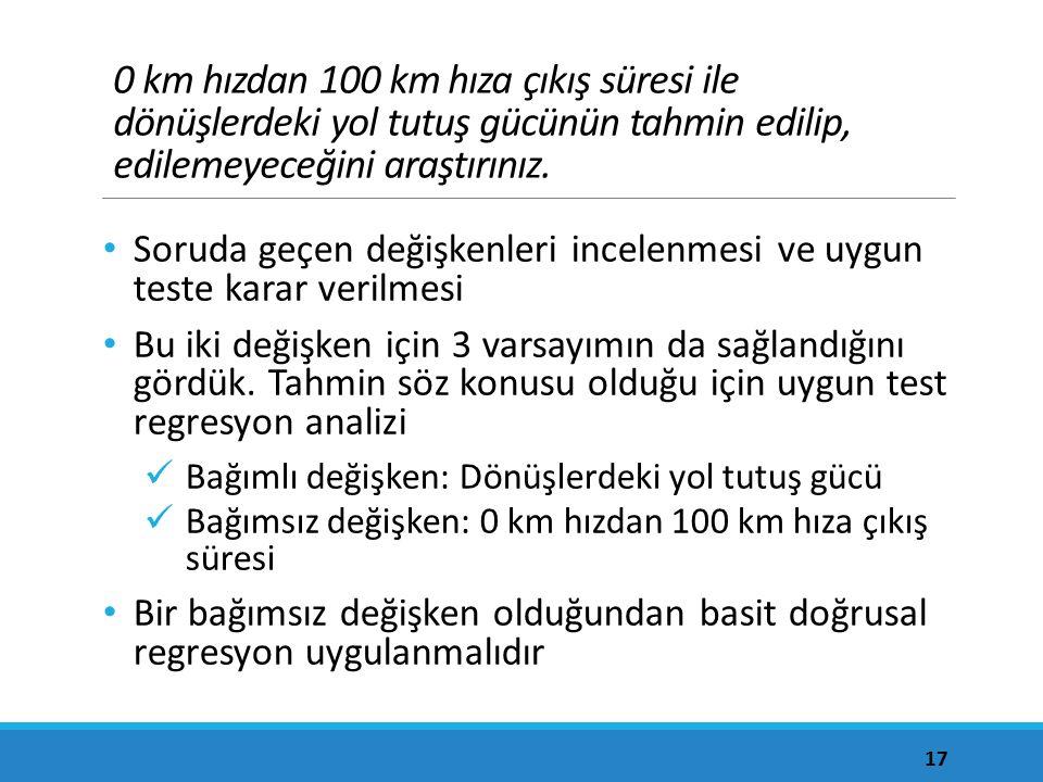 0 km hızdan 100 km hıza çıkış süresi ile dönüşlerdeki yol tutuş gücünün tahmin edilip, edilemeyeceğini araştırınız.