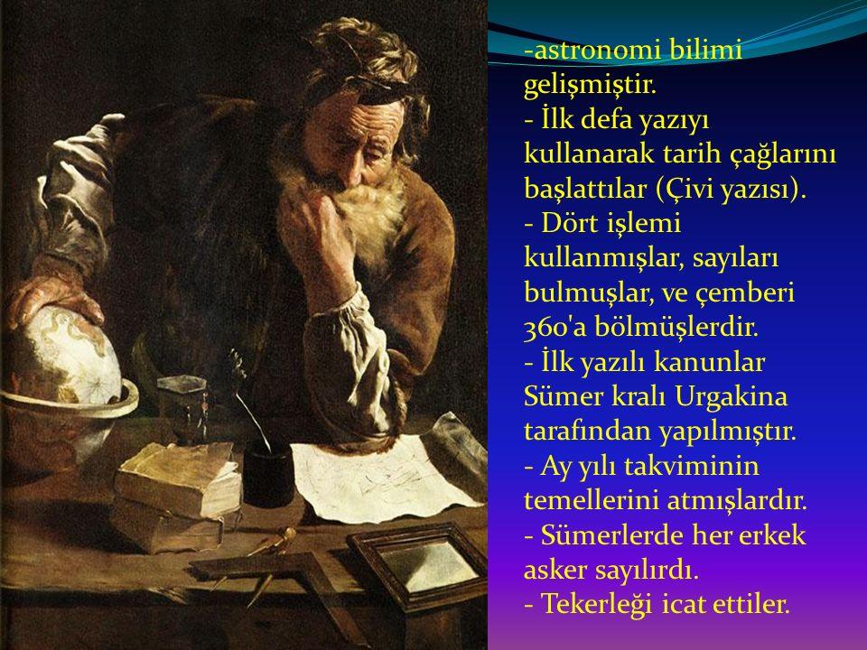 -astronomi bilimi gelişmiştir