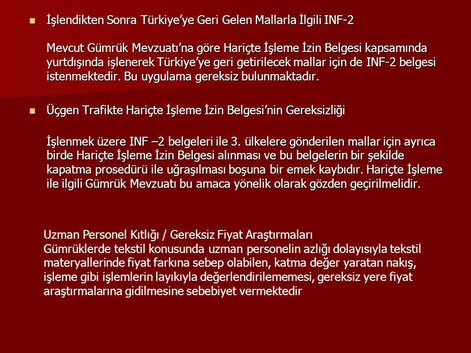 İşlendikten Sonra Türkiye'ye Geri Gelen Mallarla İlgili INF-2 Mevcut Gümrük Mevzuatı'na göre Hariçte İşleme İzin Belgesi kapsamında yurtdışında işlenerek Türkiye'ye geri getirilecek mallar için de INF-2 belgesi istenmektedir. Bu uygulama gereksiz bulunmaktadır.