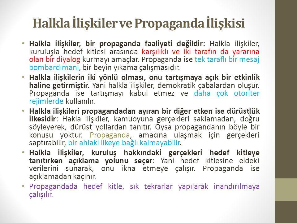 Halkla İlişkiler ve Propaganda İlişkisi