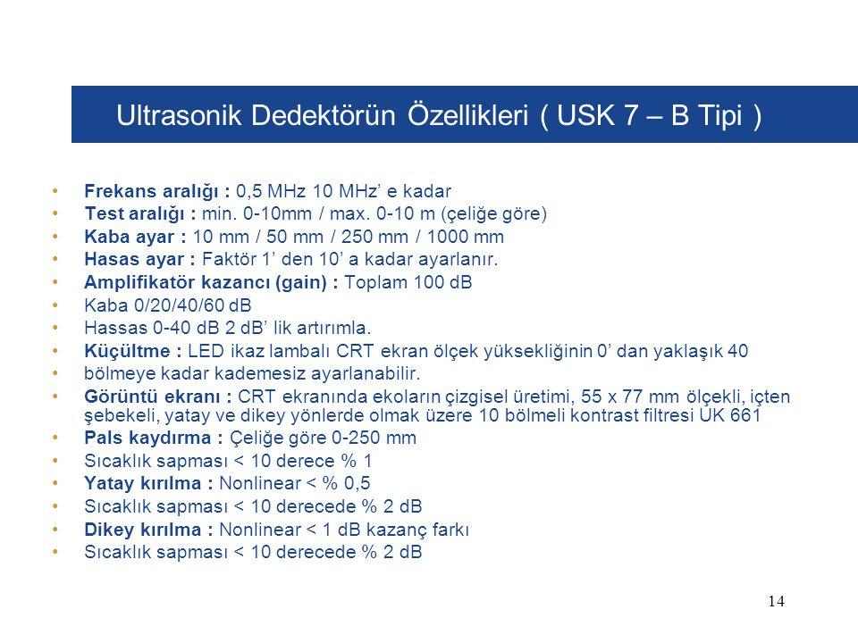 Ultrasonik Dedektörün Özellikleri ( USK 7 – B Tipi )