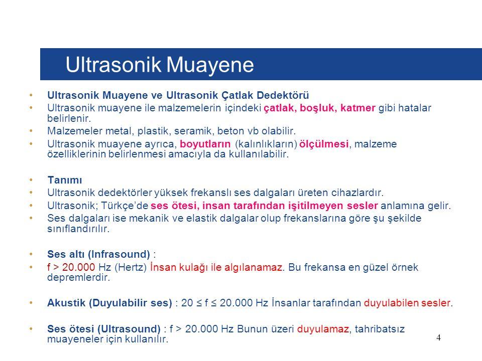 Ultrasonik Muayene Ultrasonik Muayene ve Ultrasonik Çatlak Dedektörü