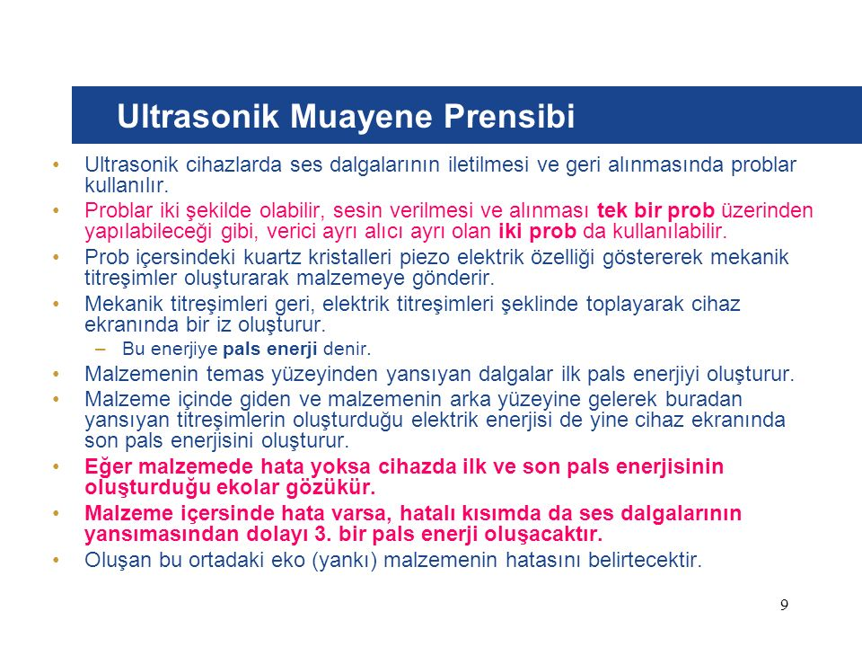Ultrasonik Muayene Prensibi